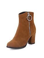 abordables -Mujer Zapatos Cuero Nobuck Primavera Otoño Botas hasta el Tobillo Confort Botas de Moda Botas Dedo redondo Botines/Hasta el Tobillo Para