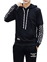 Men's Casual/Daily Simple Hoodie Solid Print Hooded Micro-elastic Polyester Long Sleeve Spring Fall