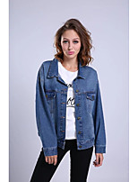 Women's Going out Casual/Daily Simple Street chic Spring Fall Denim Jacket,Print Letter Shirt Collar Long Sleeve Regular Cotton Others