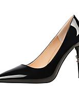 Damen Schuhe Kunstleder Frühling Herbst Komfort High Heels Stöckelabsatz Spitze Zehe Für Kleid Silber Grau Rot Mandelfarben Champagner