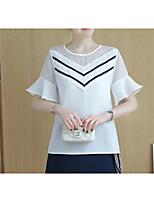 Damen Solide Gestreift Einfach Niedlich Ausgehen T-shirt,Rundhalsausschnitt Sommer Kurzarm Baumwolle Leinen Dünn
