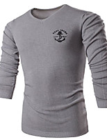 Men's Casual/Daily Regular Pullover,Print V Neck Long Sleeves Others Spring Winter Medium Micro-elastic