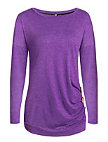 Women's Going out Casual/Daily Simple Sophisticated Fall Winter T-shirt,Solid Round Neck Long Sleeves Cotton Acrylic Medium