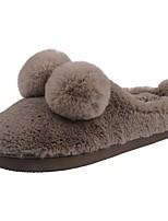 Men's Shoes Velvet Winter Fur Lining Fluff Lining Comfort Slippers & Flip-Flops Pom-pom For Casual Light Brown Black