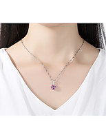 Women's Pendant Necklaces Cubic Zirconia Synthetic Sapphire Synthetic Ruby Circle Crystal Cubic Zirconia Fashion Elegant Jewelry For