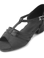 Kids' Latin Satin Sandal Heel Beginner Buckle Chunky Heel Black 1