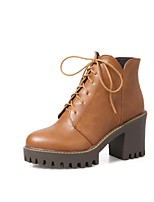 Women's Shoes PU Fall Winter Comfort Boots Chunky Heel Round Toe Zipper Lace-up For Outdoor Office & Career Brown Gray Black