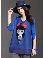 3/4-ærmer Rund hals Medium Damer Trykt mønster Efterår Sødt I-byen-tøj T-shirt,Polyester