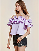 Women's Casual/Daily Work Simple Street chic Spring Fall Shirt,Solid Boat Neck Short Sleeves Polyester Medium