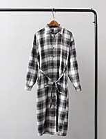 Women's Going out Casual/Daily Simple Cute Street chic Spring Fall Shirt,Color Block Plaid Shirt Collar Long Sleeves Linen Medium
