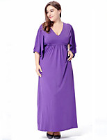 Women's Plus Size Casual/Daily Street chic Swing Dress,Solid V Neck Maxi Half Sleeves Polyester Spring Summer High Rise Micro-elastic