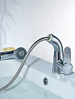 Contemporary Centerset Swivel with  Ceramic Valve One Hole for  Chrome , Bathroom Sink Faucet