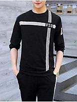 Men's Casual/Daily Sweatshirt Print Crew Neck Micro-elastic Cotton Polyester Long Sleeve Fall