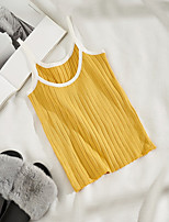 Women's Going out Sexy Spring Summer Tank Top,Solid Strap Sleeveless Cotton Opaque