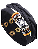 Men's Leather Bracelet Vintage Rock Leather Alloy Star Button Jewelry For Casual Going out