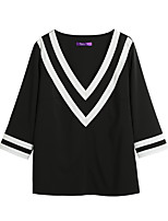 Women's Going out Casual/Daily Sexy Simple T-shirt,Solid V Neck Half Sleeves Polyester