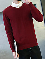Men's Casual/Daily Regular Pullover,Solid V Neck Long Sleeves Others Spring Winter Medium Micro-elastic