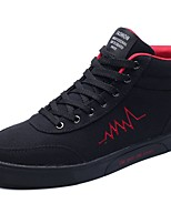 Men's Shoes Fabric Fall Winter Comfort Sneakers Lace-up For Casual Black/Red Black/White Gray Black