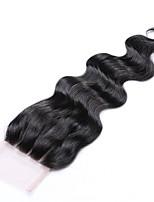 16 polegadas grau 8a 4x4 laço top fechamento 100% brasileiro cabelo humano 3 parte / parte média / parte livre # 1b natural corpo preto