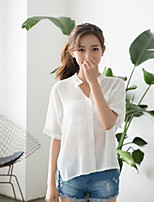 Women's Casual/Daily Simple Shirt,Solid Stand Half Sleeves Cotton Others
