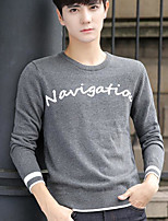 Men's Going out Regular Pullover,Print Round Neck Long Sleeves Cotton Fall Medium Micro-elastic