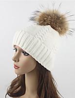 Women Wool Acrylic Raccoon Fur Floppy Hat Ski Hat,Hat Knitwear Hats Solid Fall Winter Pure Color