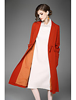 Women's Going out Casual/Daily Street chic Fall Trench Coat,Solid Shirt Collar Long Sleeve Long Cotton
