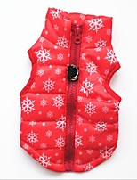 Cat Dog Vest Dog Clothes Casual/Daily Keep Warm Christmas Snowflake Red Black