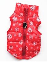 Gatto Cane Gilè Abbigliamento per cani Casual Tenere al caldo Natale Fiocco di neve Nero Rosso