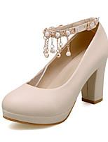 Da donna Scarpe PU (Poliuretano) Estate Autunno Comoda Innovativo Tacchi Quadrato Punta tonda Perline Perle Fibbia Per Formale Beige Blu