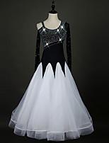 Ballroom Dance Dresses Women's Performance Spandex Organza Crystals/Rhinestones 1 Piece Long Sleeve Dresses