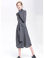 Gaine Robe Femme Sortie Couleur Pleine Col Ras du Cou Midi Manches Longues Fausse Fourrure Automne Taille Normale Micro-élastique Moyen