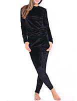 Women's Going out Casual/Daily Simple Vintage Active Fall Winter T-shirt Pant Suits,Solid Round Neck Long Sleeve Micro-elastic