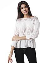 Tee-shirt Femme,Couleur Pleine Sortie Décontracté / Quotidien Travail Sexy simple Printemps Automne Manches Longues Col Arrondi Coton