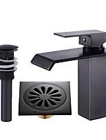 Set de centre Jet pluie with  Soupape céramique Mitigeur un trou for  Bronze huilé , Robinet lavabo