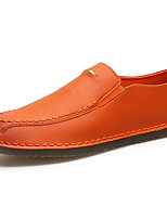 Men's Shoes Leather Spring Fall Comfort Loafers & Slip-Ons For Casual Office & Career Orange Black White