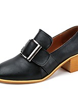 Women's Shoes PU Fall Comfort Heels Chunky Heel Square Toe With For Casual Dress Almond Brown Black