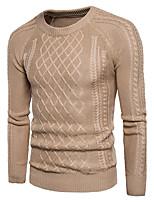 Standard Pullover Da uomo-Per uscire Casual Semplice Romantico Moda città Tinta unita Rotonda Manica lunga Cotone Poliestere Autunno