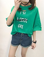 Women's Going out Simple Summer T-shirt,Letter Round Neck 3/4 Length Sleeves Cotton Thin