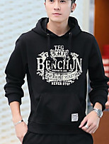 Men's Casual/Daily Simple Hoodie Solid Hooded Inelastic Cotton Long Sleeve Fall Winter