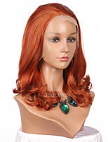 Women Synthetic Wig Lace Front Medium Length Wavy Orange Natural Hairline Lolita Wig Party Wig Halloween Wig Cosplay Wig Costume Wig