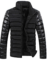 Men's Long Padded Coat,Simple Street chic Punk & Gothic Going out Casual/Daily Color Block-Polyester Polyester Long Sleeves