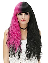 Donna Parrucche sintetiche Senza tappo Lungo Onda effetto mare Nero/Rose Red Parrucca di Halloween costumi parrucche