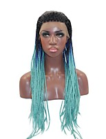 Women Synthetic Wig Lace Front Long Straight Blue African American Wig Braided Wig African Braids Ombre Hair Party Wig Halloween Wig