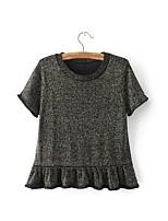 Tee-shirt Femme,Couleur Pleine Sortie Décontracté / Quotidien simple Chic de Rue Printemps Automne Manches Courtes Col Arrondi Autres Fin