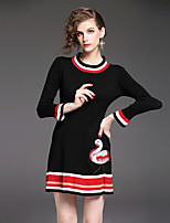Damen Hülle Kleid-Lässig/Alltäglich Arbeit Einfach Solide Rundhalsausschnitt Übers Knie Langarm Nylon Herbst Mittlere Hüfthöhe Dehnbar