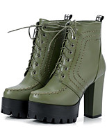 Women's Shoes PU Fall Winter Comfort Novelty Fashion Boots Bootie Boots Chunky Heel Round Toe Booties/Ankle Boots Lace-up For Office &
