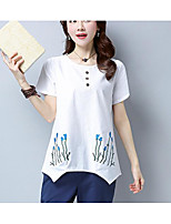 Women's Going out Casual/Daily Vintage Simple Summer T-shirt,Embroidery Round Neck Short Sleeves Cotton Linen