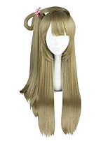 Women Synthetic Wig Capless Long Straight Flaxen Braided Wig Cosplay Wig Costume Wig