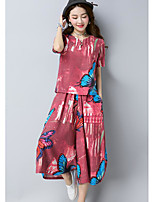 Women's Going out Simple Summer Blouse Pant Suits,Floral Round Neck Short Sleeve